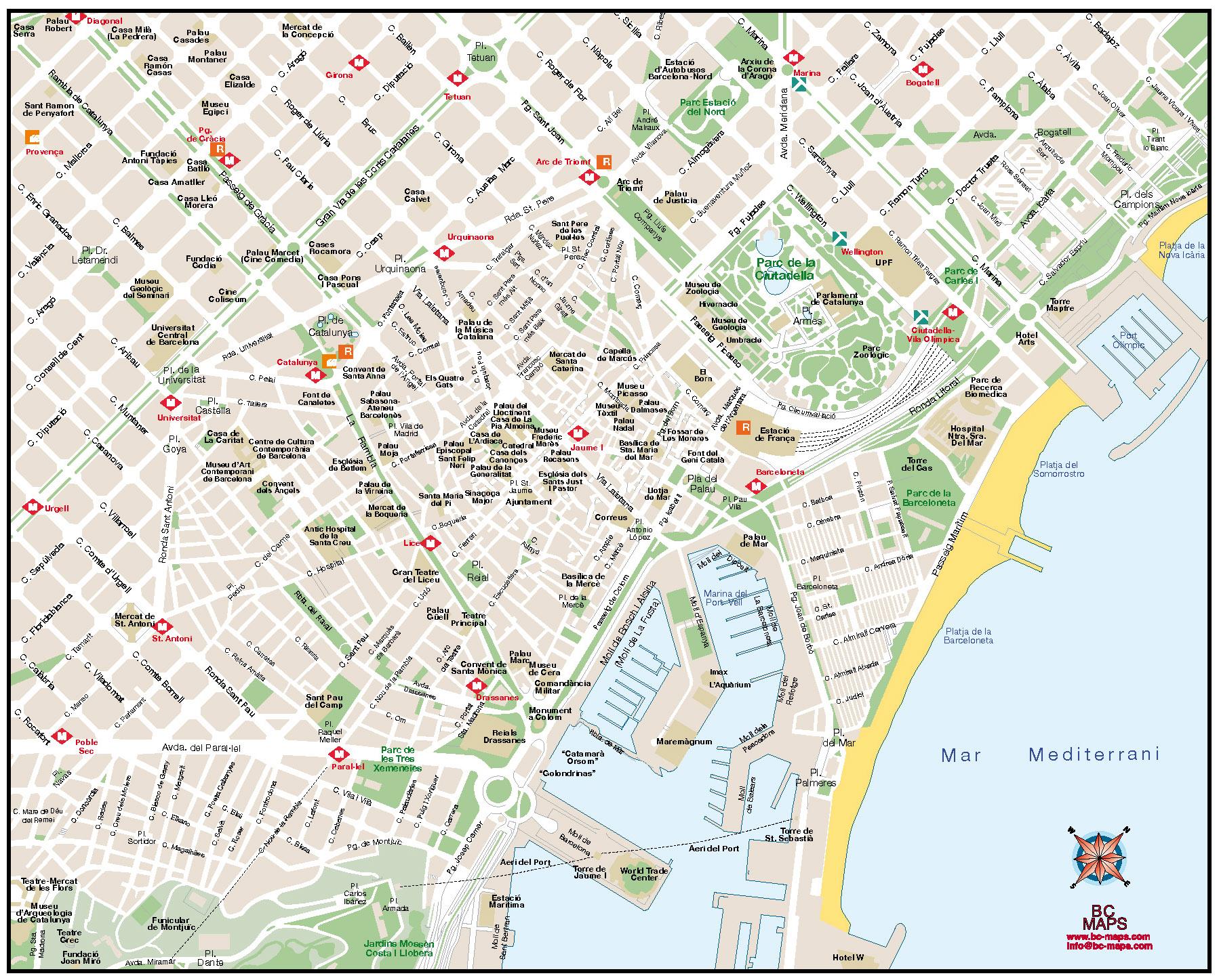 Mapa Turistico De Barcelona Mapa Owje Com