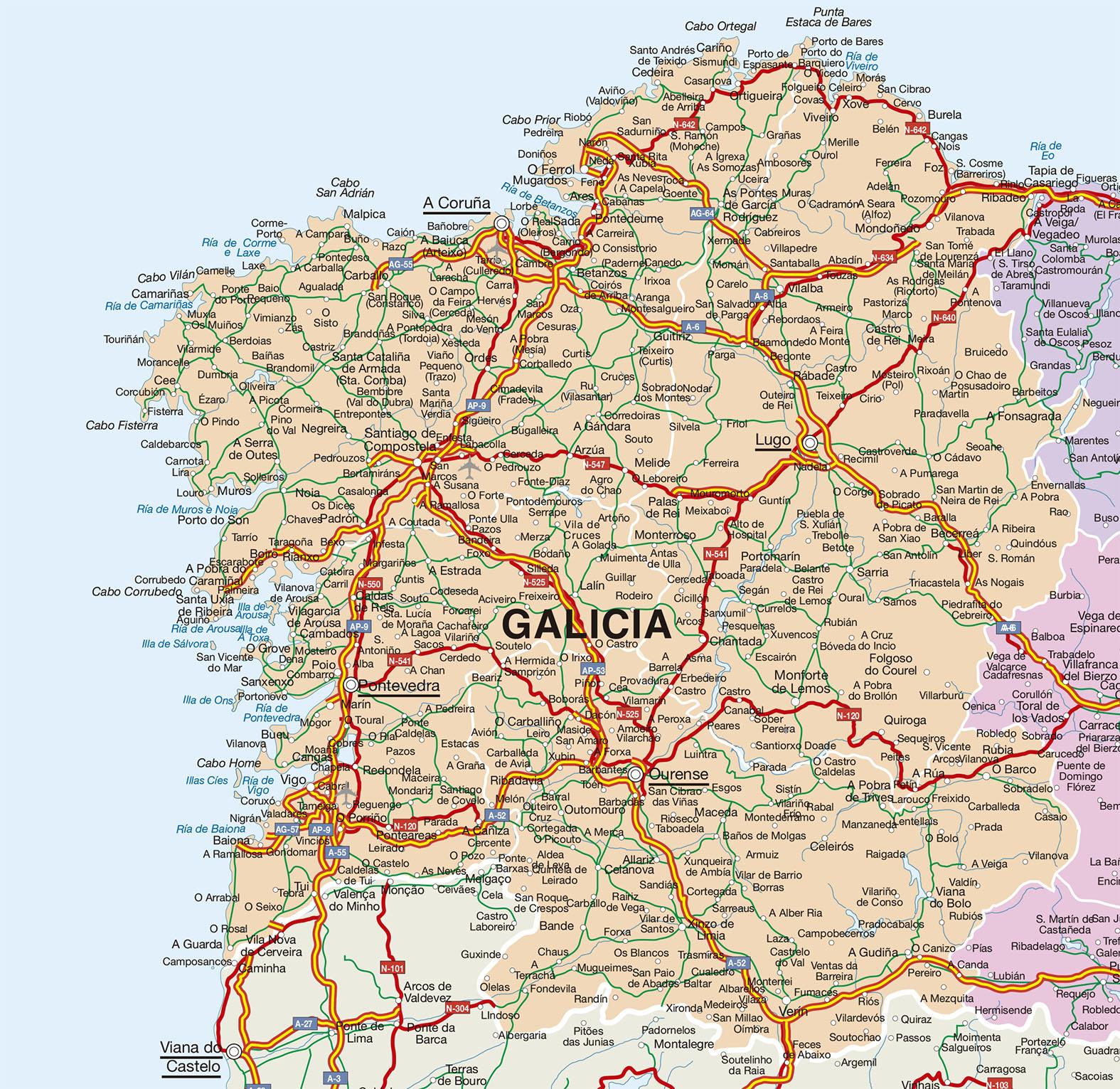 Mapa Vectorial A Coruna Provincia Bc Maps Mapa Vectorial Eps