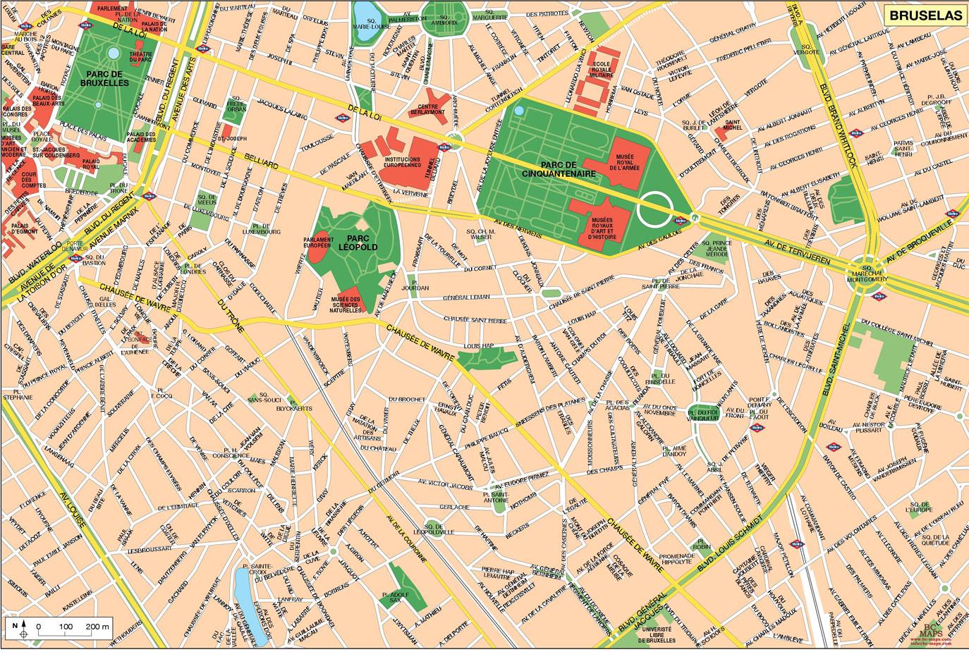 Bruselas Brussels Bruxelles Mapa Vectorial Editable Eps Illustrator