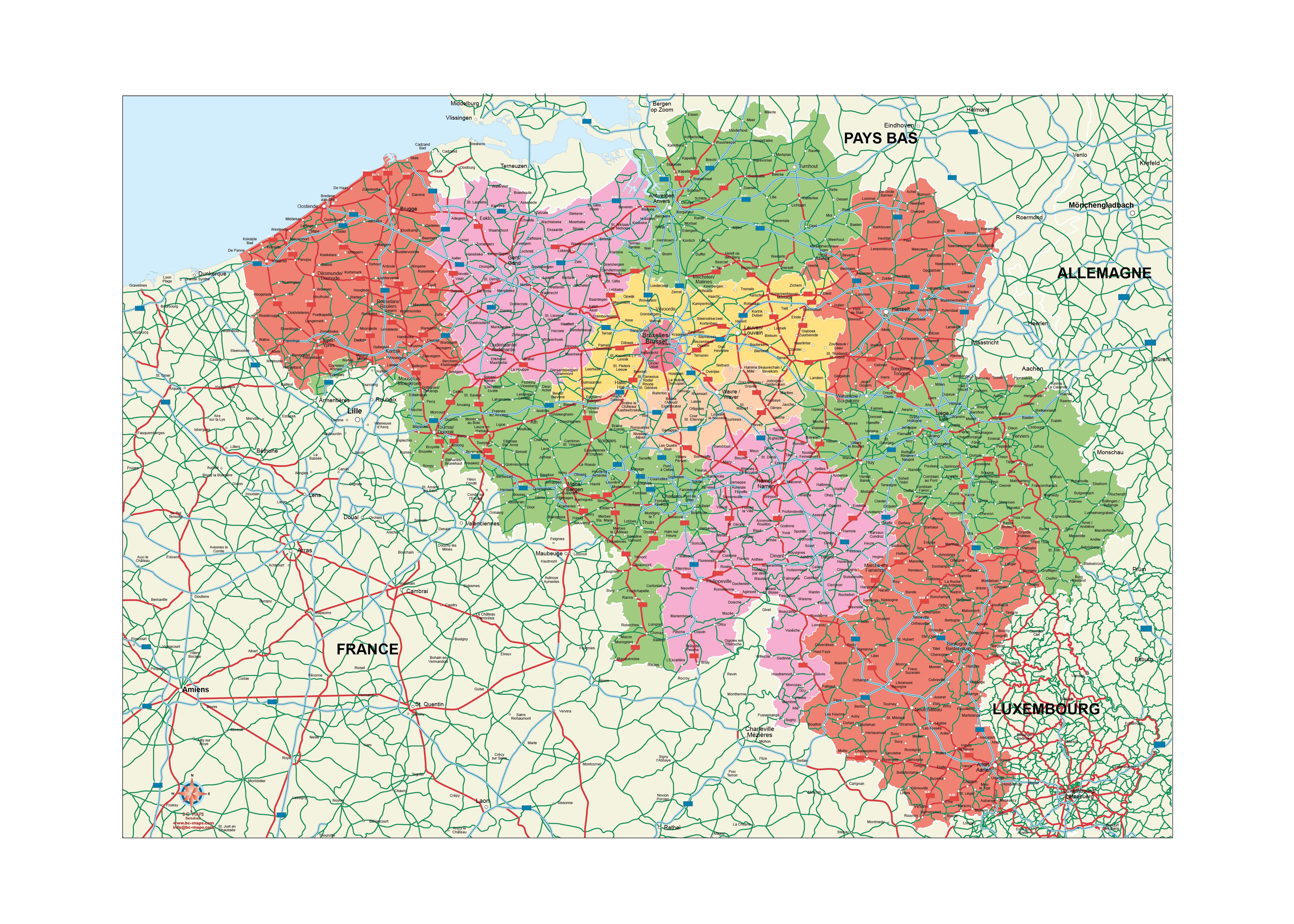Mapa Vectorial De Belgica Illustrator Eps Editable Estructurados