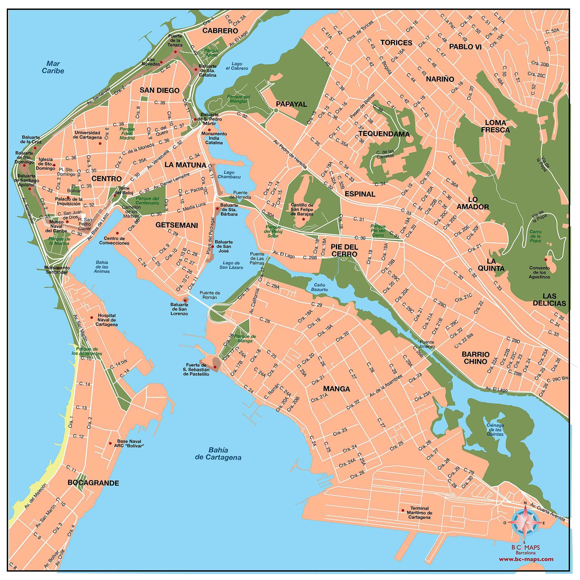 Cartagena De Indias Mapa Vectorial Editable Eps Illustrator