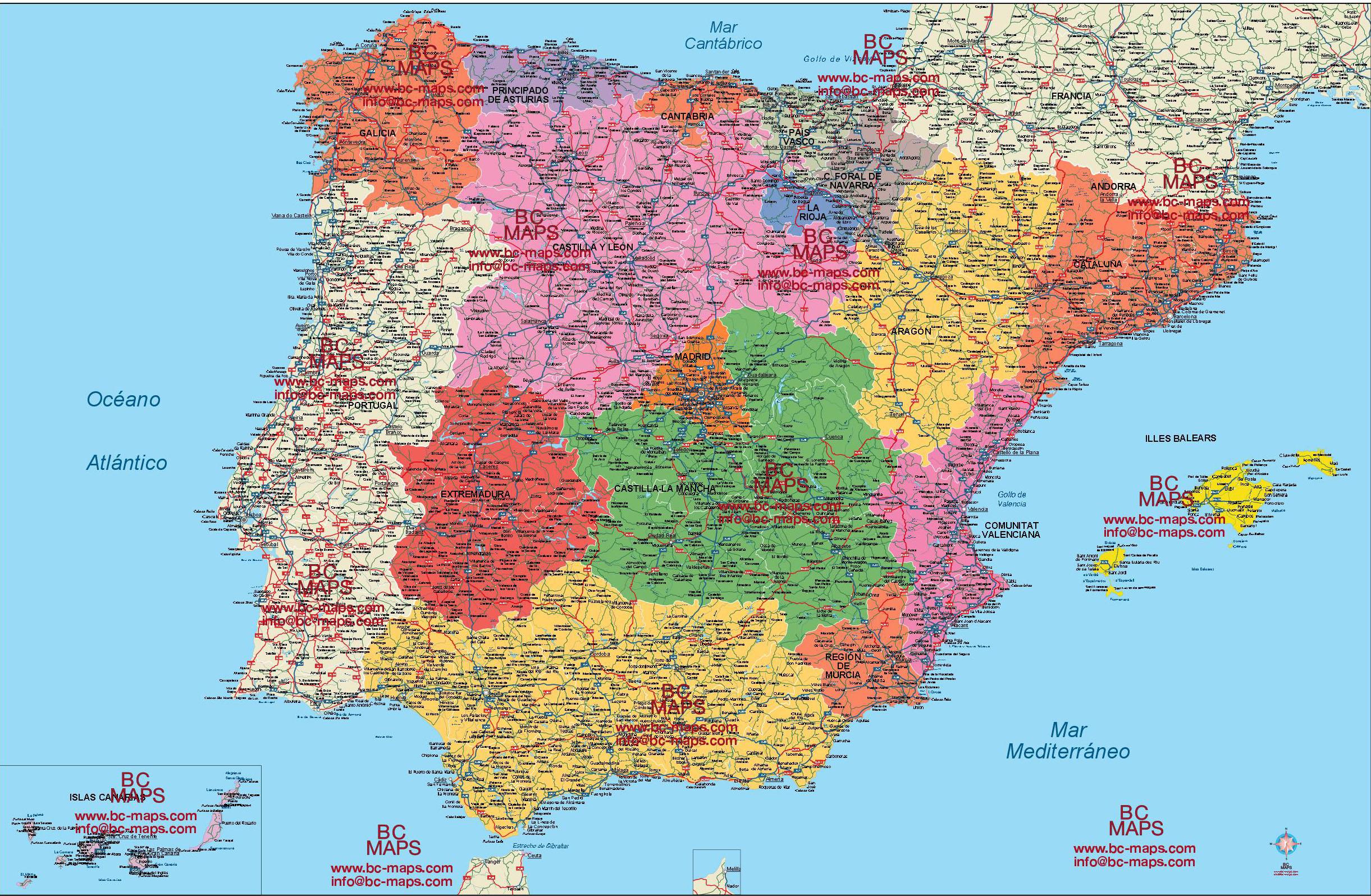 Mapa Tematico De Espana.Mapas Vectoriales De Espana Ciudades Ccaa Comarcas