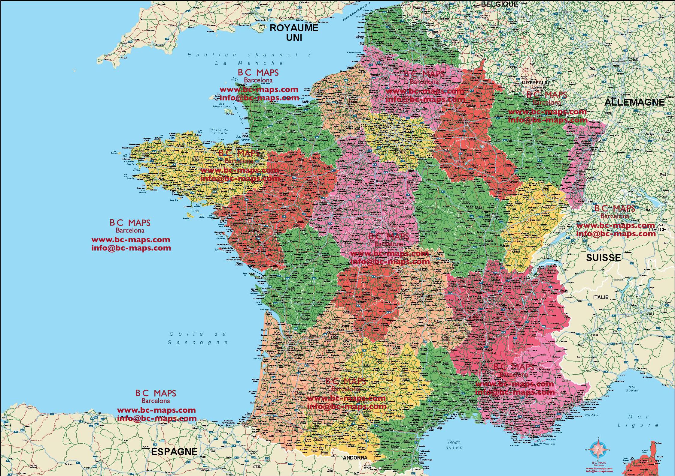 Mapa Francia Vectorial Illustrator Eps Con Carreteras
