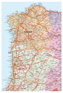 Mapa vectorial Portugal & Galicia illustrator eps editable