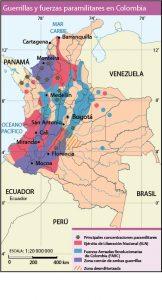 Mapas temáticos Colombia guerrillas mapa vectorial illustrator eps