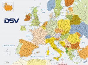Mapa Europa códigos postales DSV Bélgica