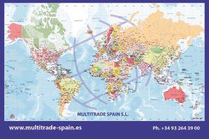 Mapamundi de sobremesa laminado para Multitrade Spain