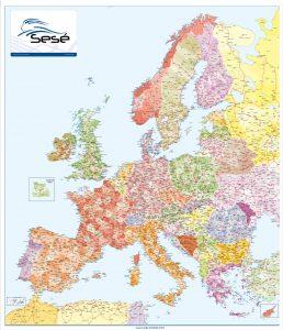 Mapa mural Europa codigos postales GRUPO SESE