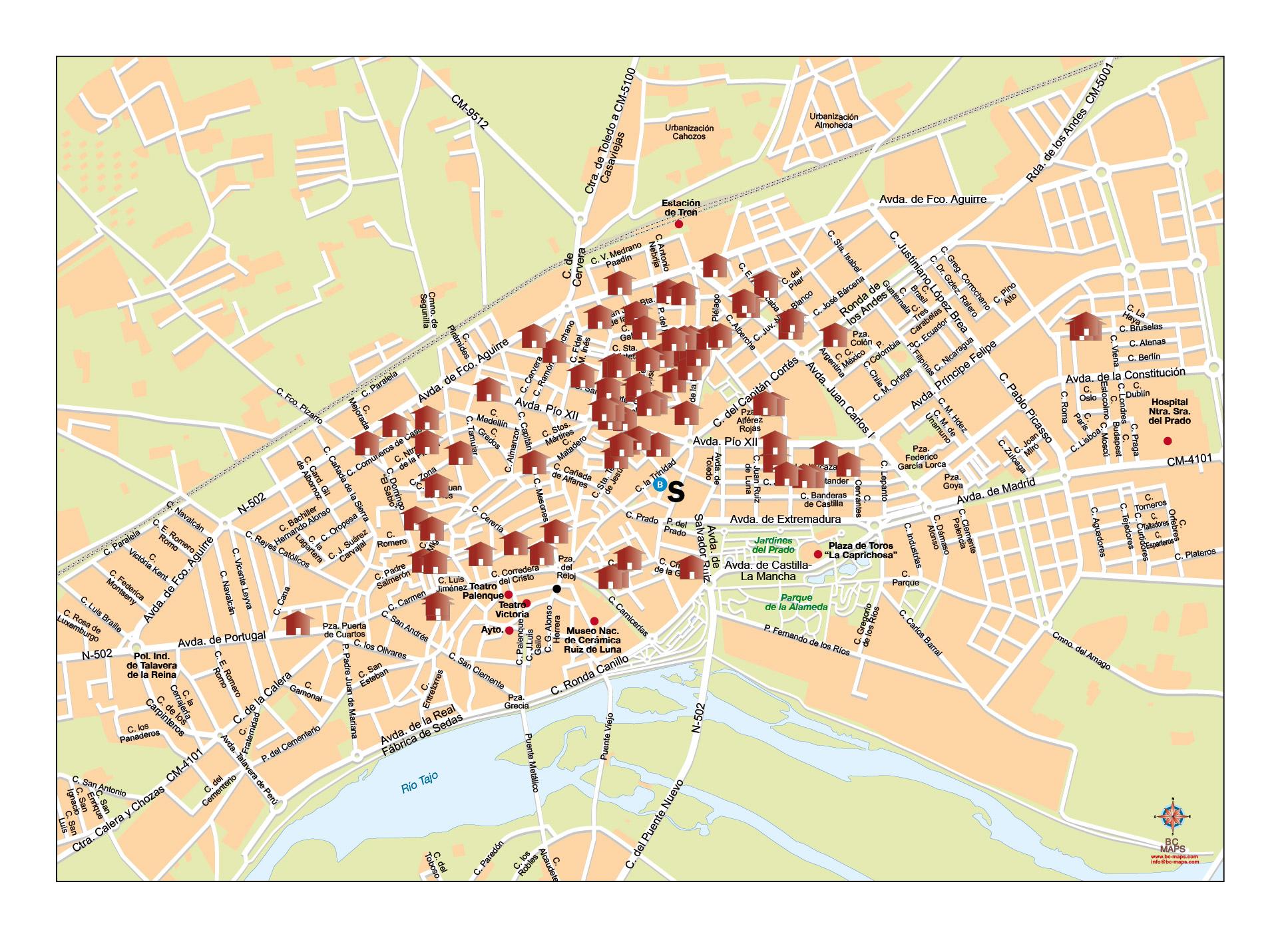Mapa Talavera Dela Reina.Mapa Vectorial Illustrator Eps Talavera De La Reina Toledo