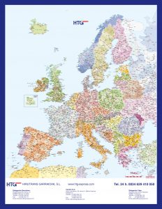 mapa mural HTG Europa códigos postales