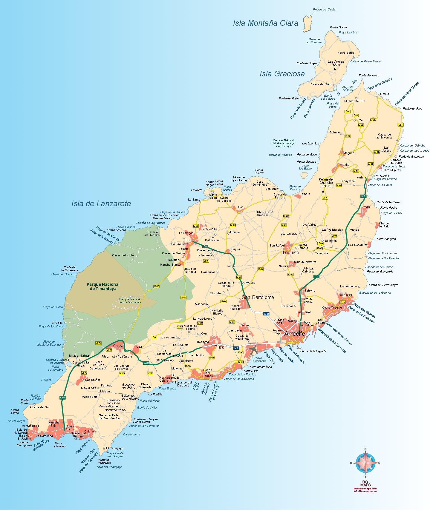 Isla De Lanzarote Mapa.Mapa Vectorial Isla De Lanzarote Eps Illustrator