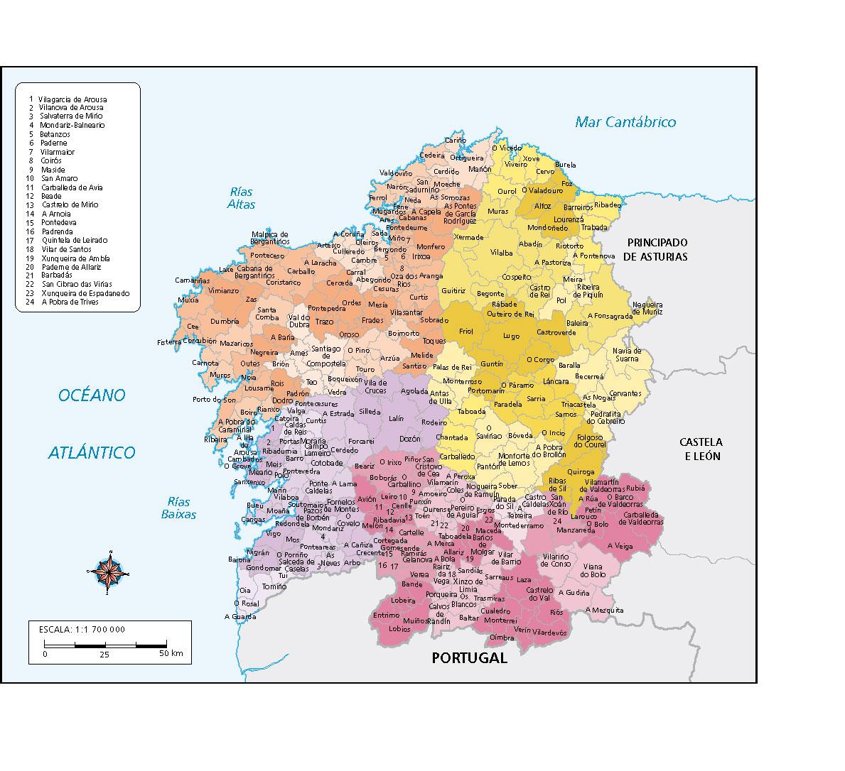 Concellos De Galicia Mapa Vectorial Illustrator Eps De