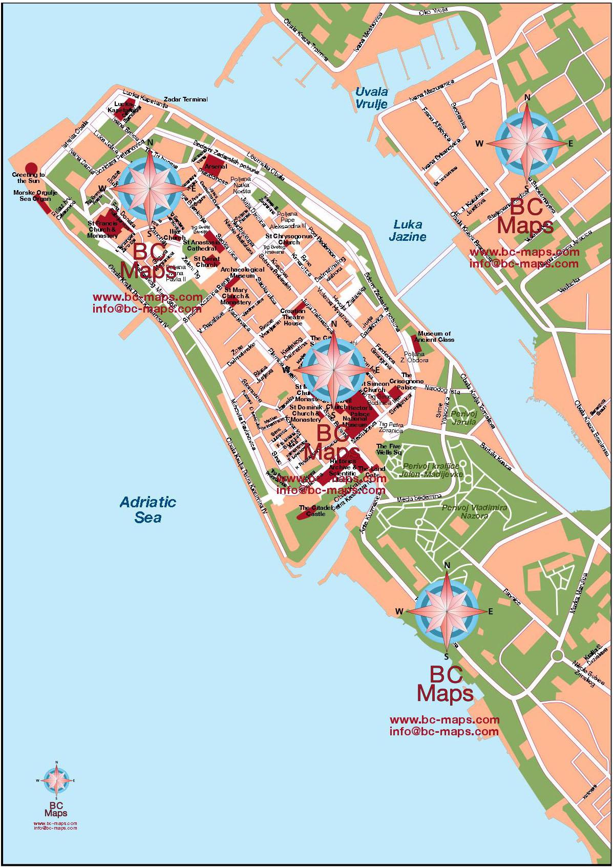 Mapa Vectorial Illustrator De Zadar Croacia