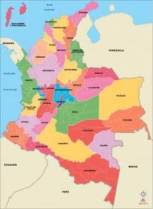 Mapa vectorial, eps illustrator, con todos los municipios de Colombia