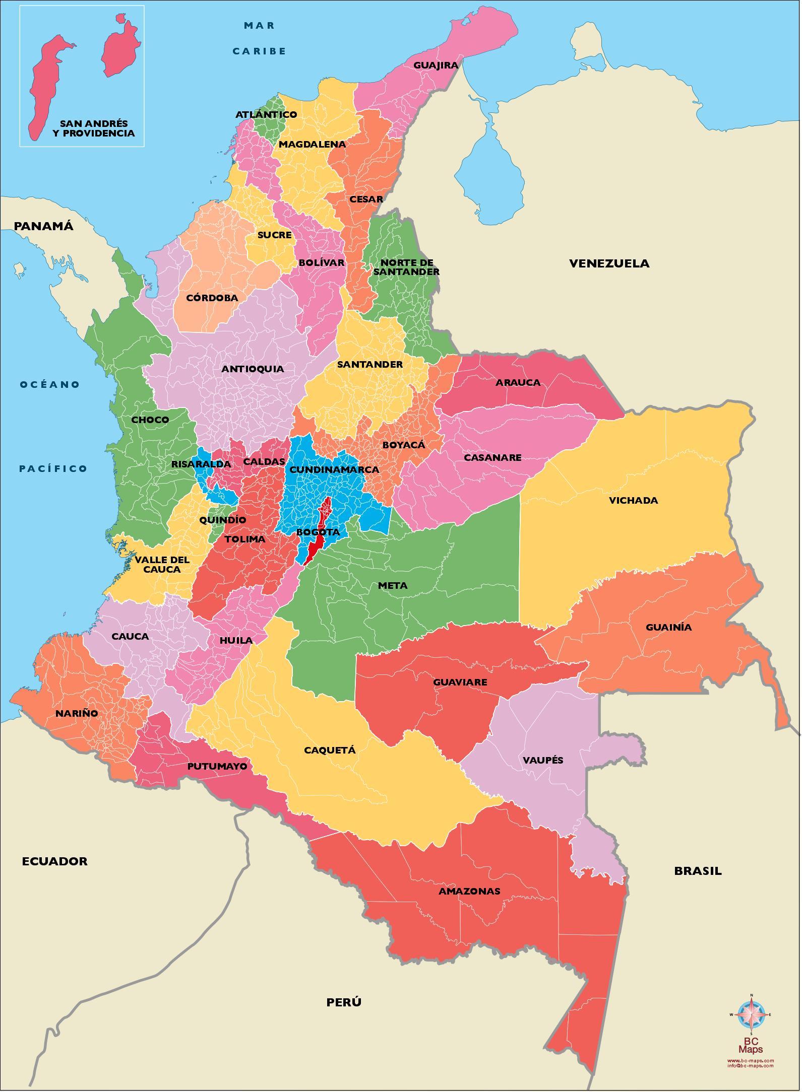 Mapa De Colombia Ciudades.Mapa Vectorizado De Municipios De Colombia