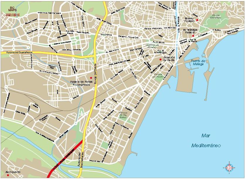 Malaga Mapa Centro Vectorial Bc Maps Mapa Vectorial Eps