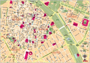 Mapa vectorial eps illustrator centro Valencia