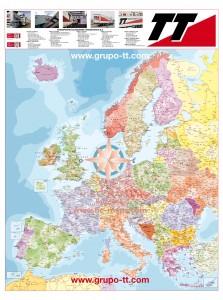 Mapa mural Europa Códigos postales Grupo TT