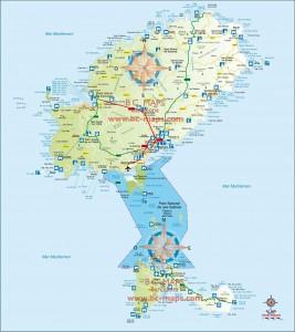 Mapa vectorial Ibiza y Formentera eps illustrator