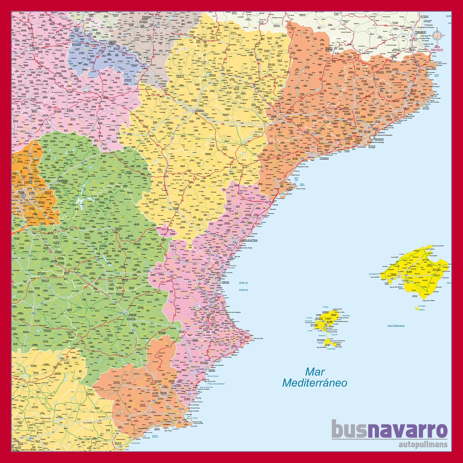 Mapa Mural Mediterraneo Bus Navarro, Bc Maps