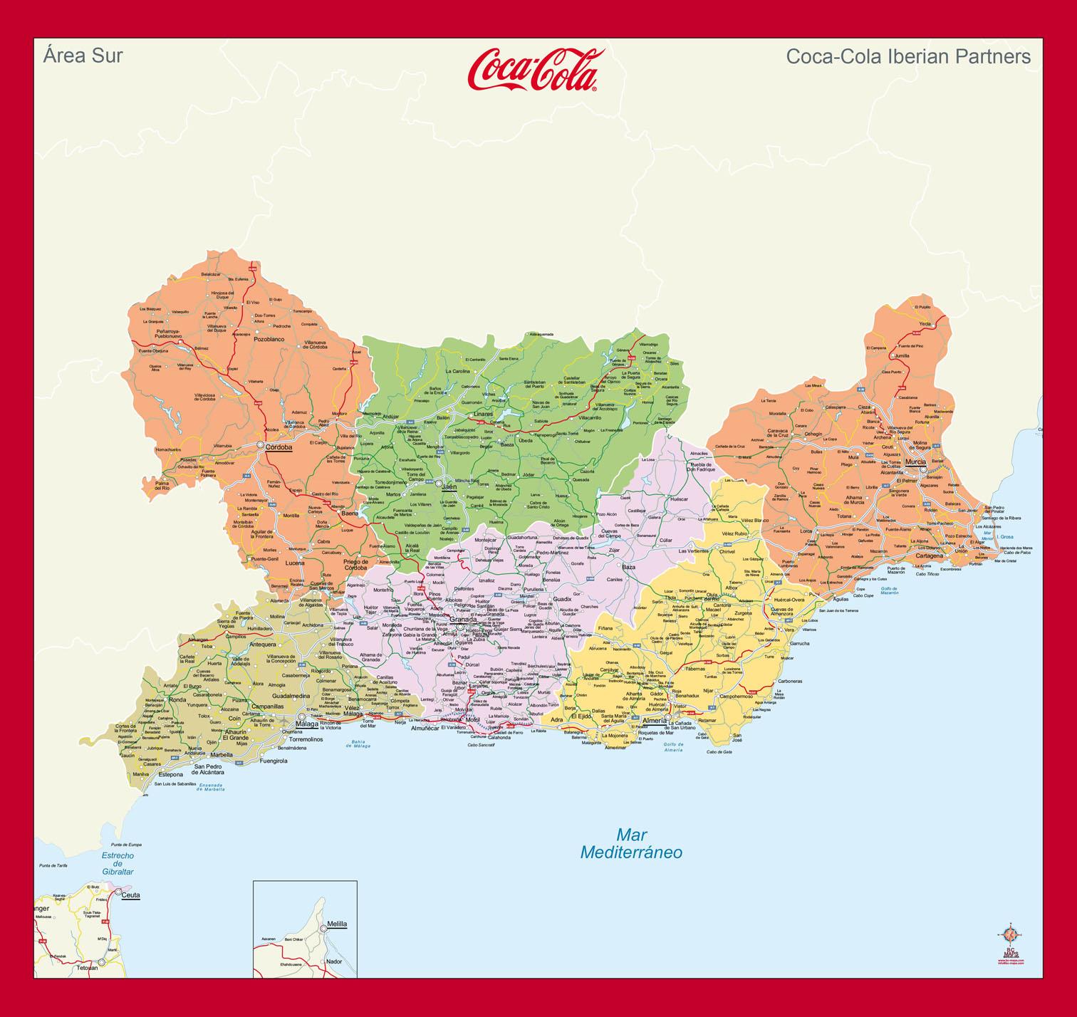 Mapa mural Este Andalucia Coca Cola