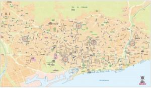 Mapa vectorial del Area metropolitana de Barcelona eps illustrator para TMB