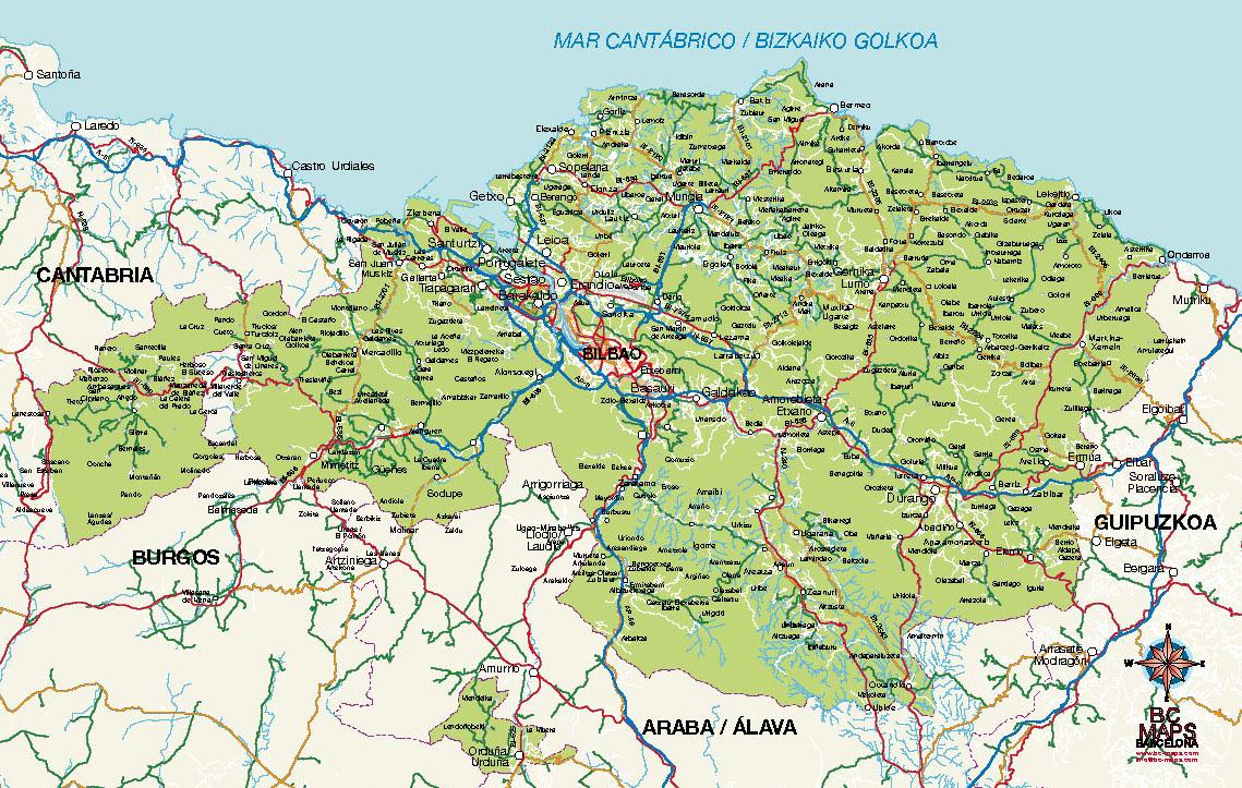 Bizkaia Vizcaya Vector Map Eps Illustrator Bc Maps Mapa