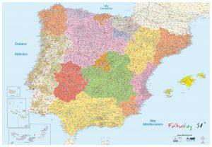 Mapa mural Península Ibericia Códigos postales