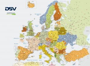 Mapa Europa códigos postales DSV France