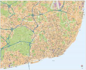 mapa vectorial de Lisboa eps illustrator