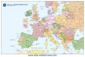 Mapa Europa códigos postales mural político Atlas Mediterráneo