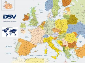 DSV Europe zip code map Lithuania