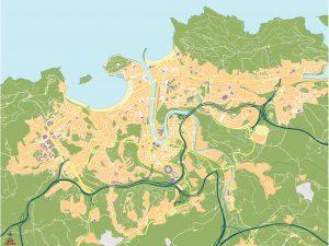 Mapa vectorial Donostia San Sebastian eps illustrator mudo 2021