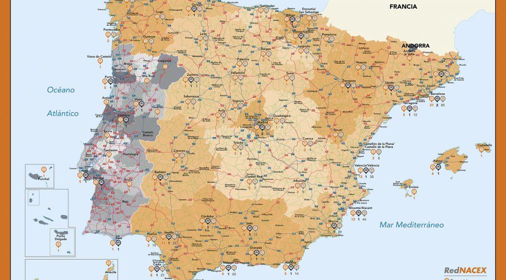Mapa mural España Nacex