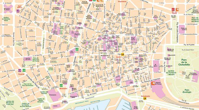 Mapa vectorial illustrator eps Barcelona zoom Busplus