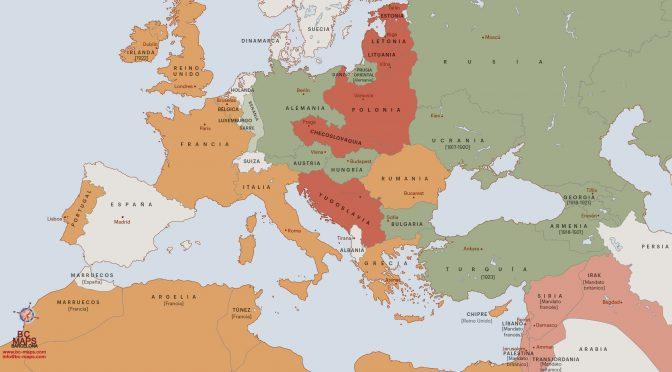 Mapa vectorial Europa 1918