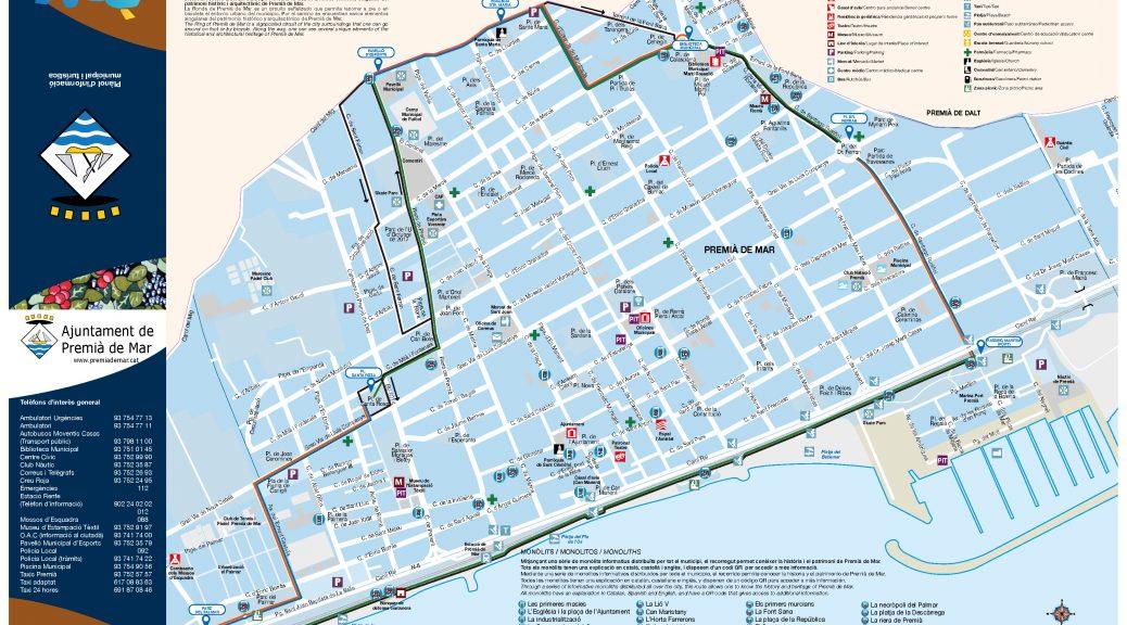Plànol de Premia de Mar, amb les rutes i monolits