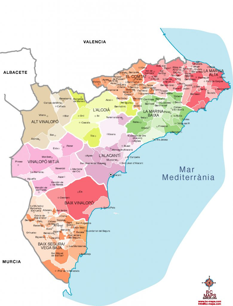 Mapa Carreteras Provincia Alicante.Municipios Alicante Provincia Mapas Vectoriales Eps