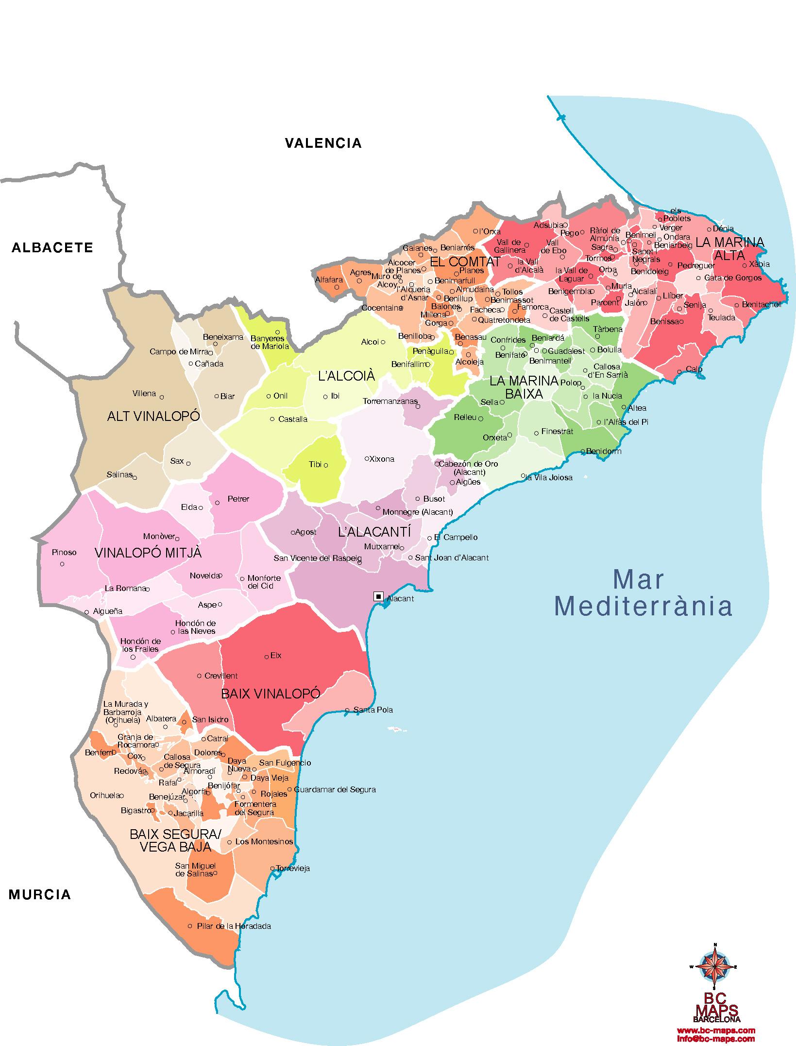 Mapa Provincia De Alicante.Municipios Alicante Provincia Mapas Vectoriales Eps