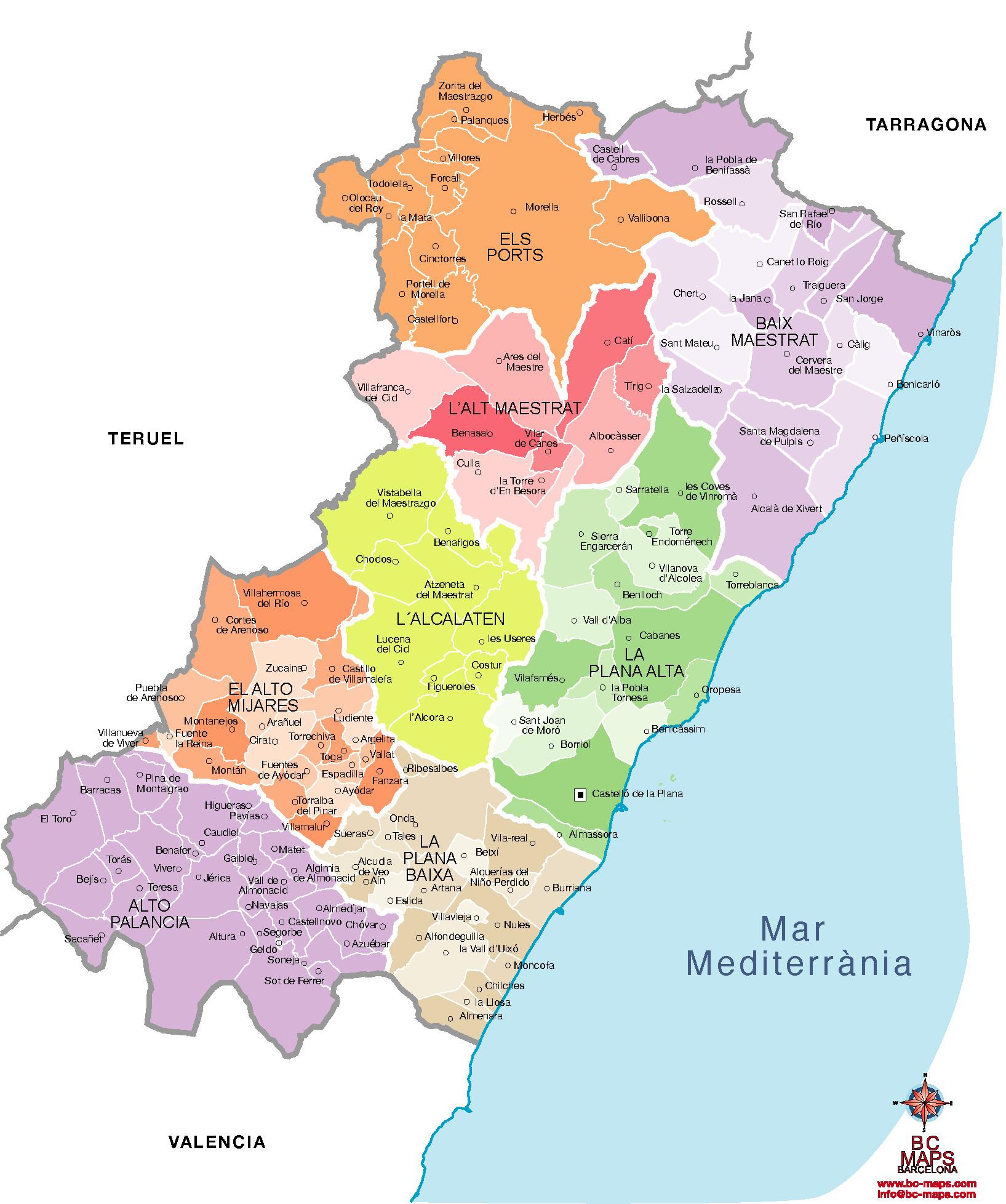 Mapa Provincia Castellon Municipios.Municipios Castellon Provincia Mapas Vectoriales Eps