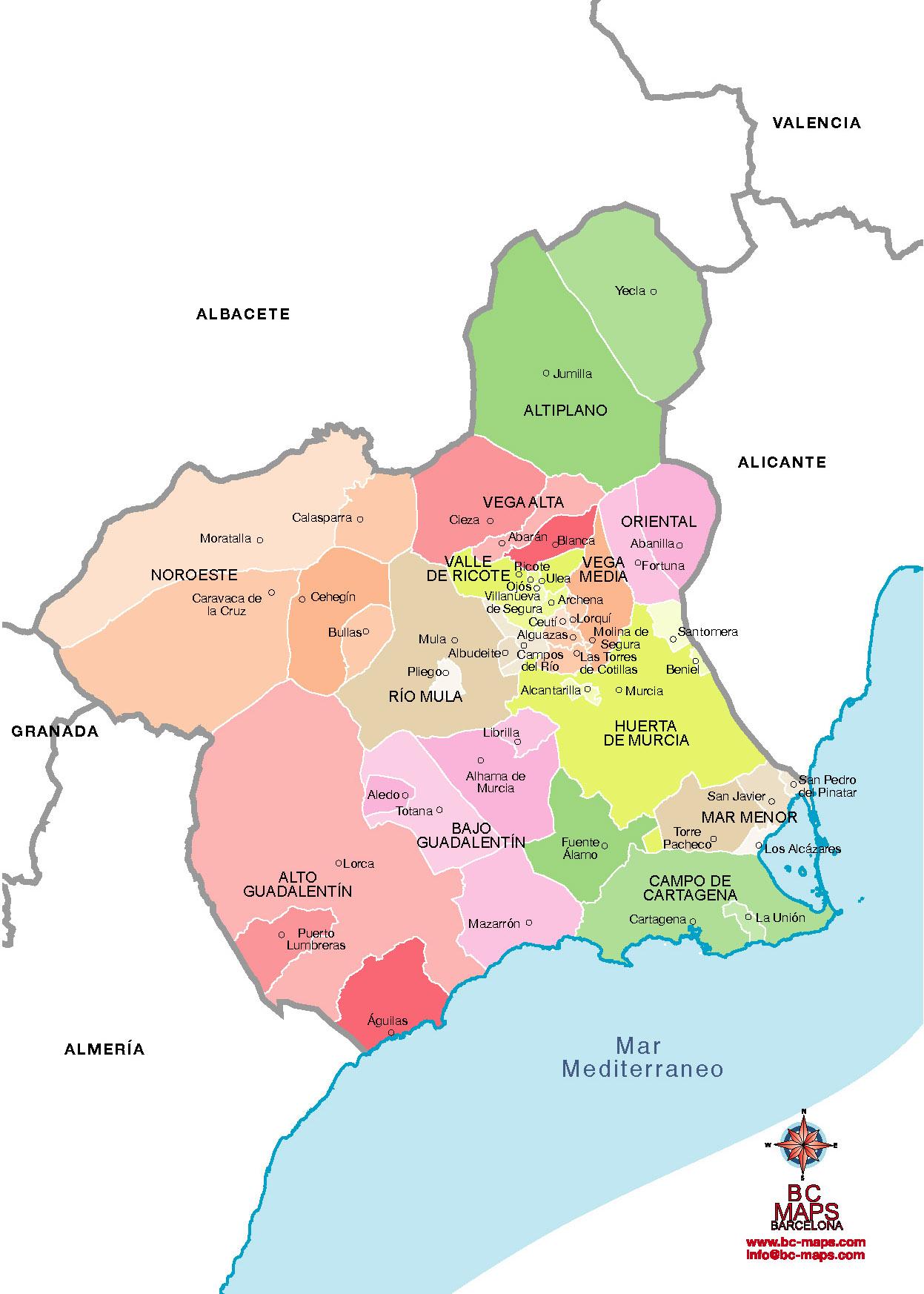Municipios Murcia Provincia Mapas Vectoriales Eps Illustrator