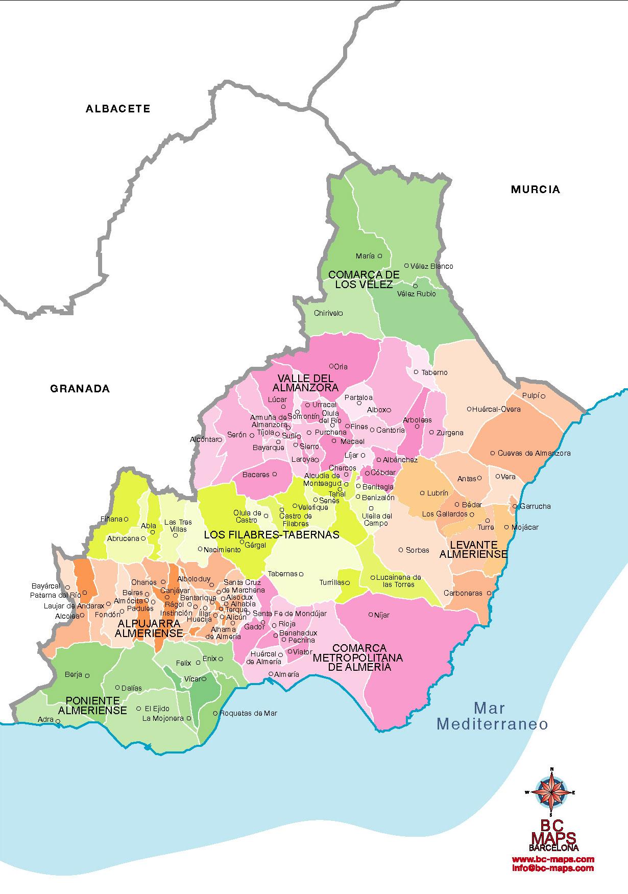 Municipios De Almeria Mapa Vectorial Illustrator Eps De