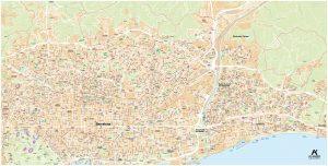 Mapa mural Barcelona Badalona