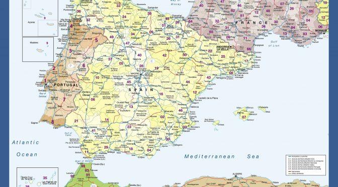 Mapa mural Peninsula Iberica Gefco