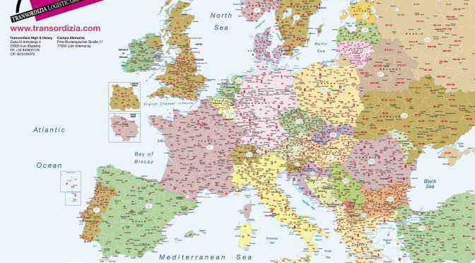 Mapa Europa A2 Codigos postales Transordizia